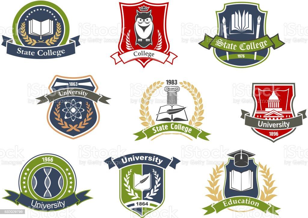 Universidad y Escuela heraldic iconos retro - ilustración de arte vectorial