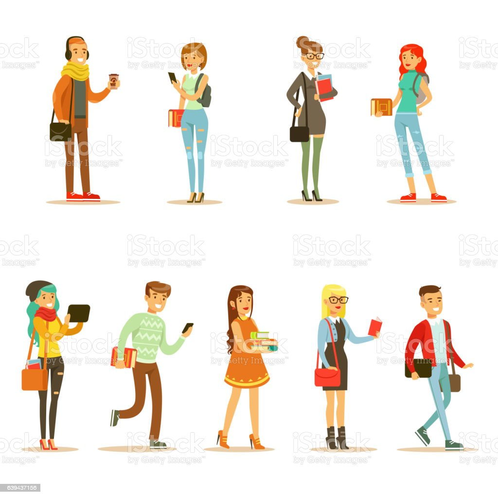 University And College Students Street Fashion Looks vector art illustration