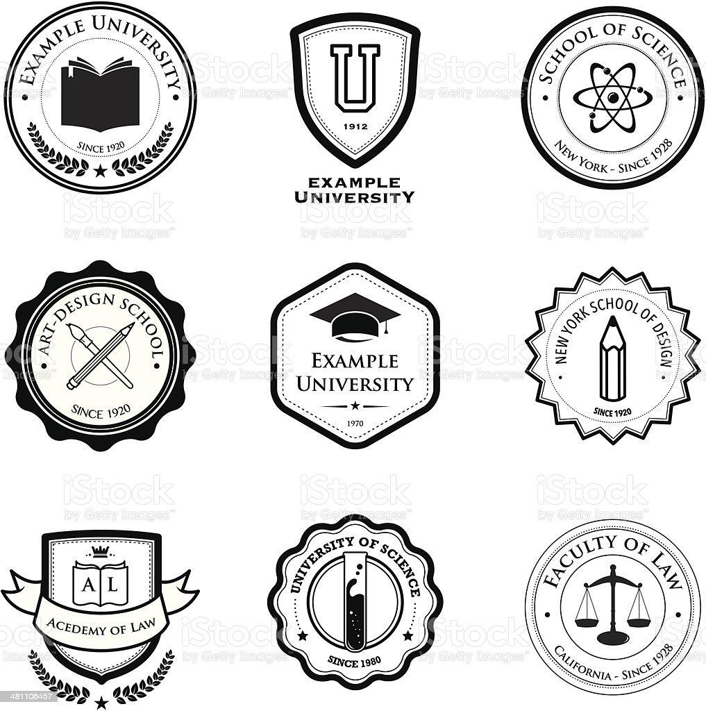university and education badges