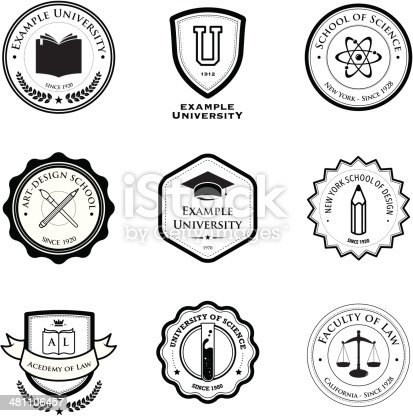 A set of university and education badges. Eps8. All design elements are layered and grouped.
