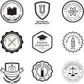 university and education badges