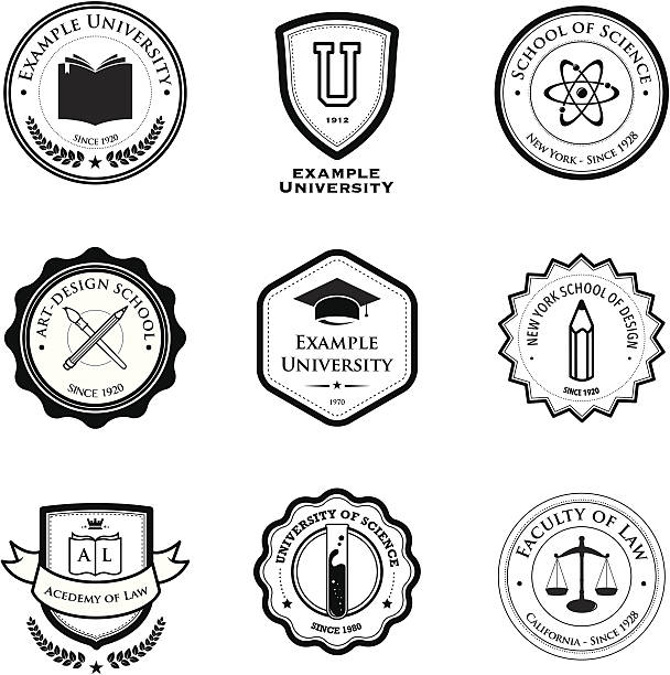 university and education badges - university stock illustrations, clip art, cartoons, & icons