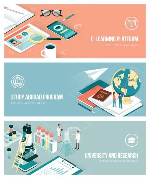 ilustraciones, imágenes clip art, dibujos animados e iconos de stock de universitarias e investigación - estudiar