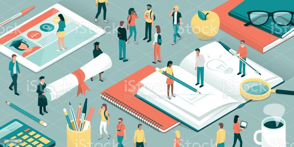 University and research vector art illustration