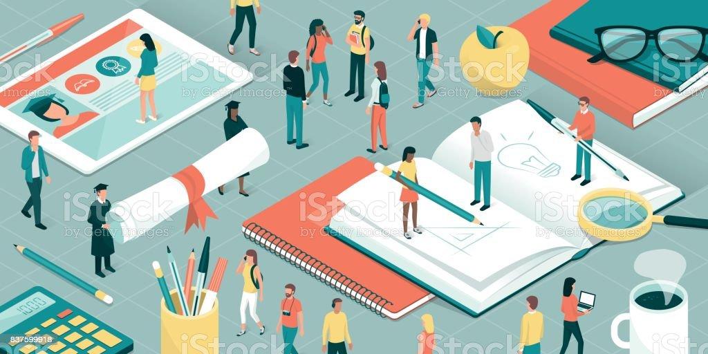 Universitarias e investigación - ilustración de arte vectorial