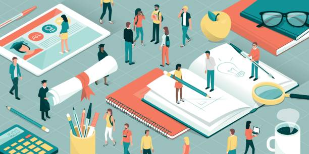 University and research College and university students, researchers and professors studying together, school supplies and digital tablet: education and research concept campus stock illustrations