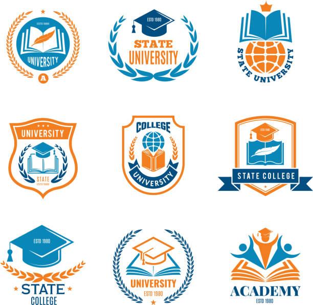 ilustrações de stock, clip art, desenhos animados e ícones de university badges. school business identity quality emblem college vector logo - college