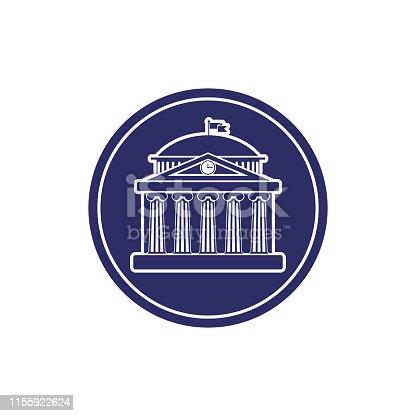 University building sign, bank, museum,  library, parliament. Classical Greece Roman architecture with Ionic columns, clock, spire and flag. web icon,monochrome isolated vector illustration in circle