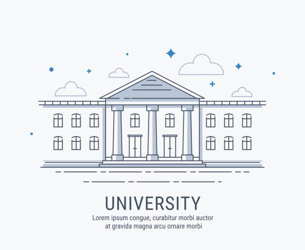 University building University, College, academy or shool building in modern vector style illustration. For web banner or landing page. campus stock illustrations