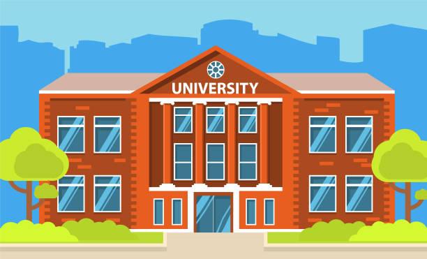 University building.Education student.City landscape house facade.College building. Concept of design horizontal banner flat vector. college stock illustrations