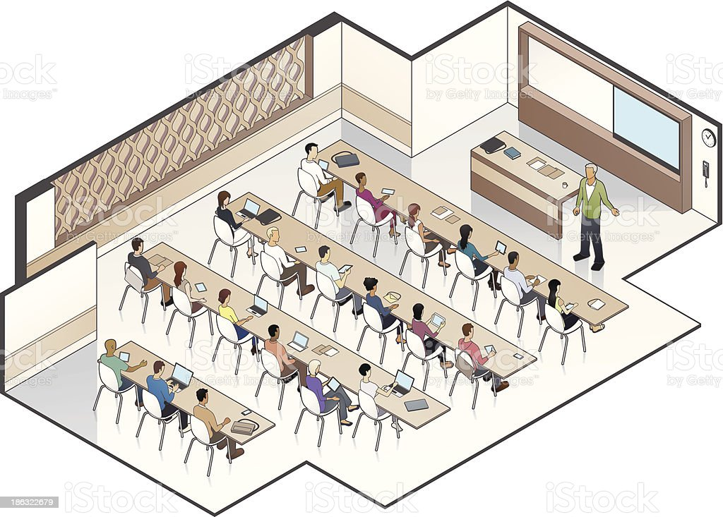 University Classroom vector art illustration