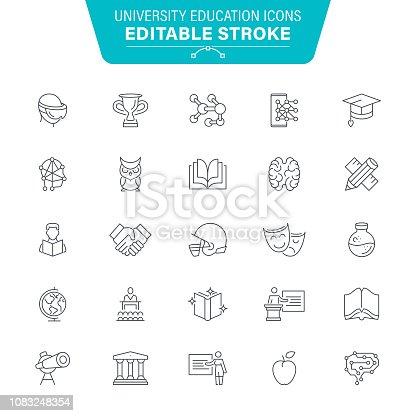 University, E-Learning, Seminar, USA, Editable Stroke Icon Set