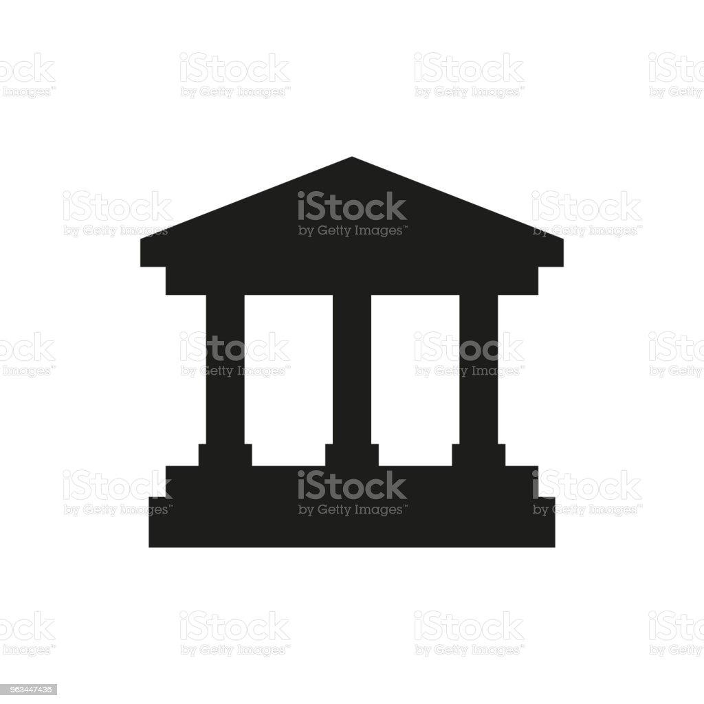 Üniversitesi, düz simgesi beyaz arka plan üzerinde izole - Royalty-free Banka Vector Art