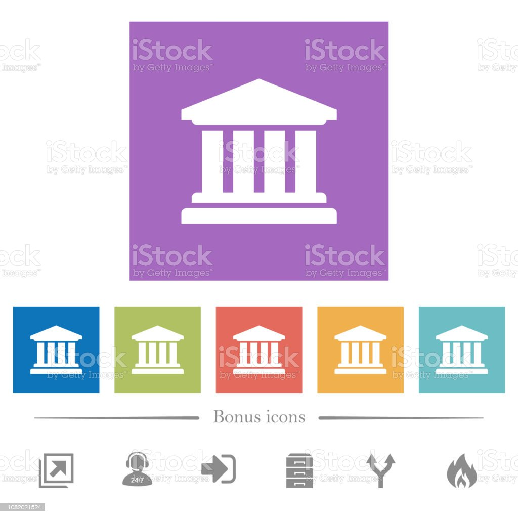 University flat white icons in square backgrounds vector art illustration