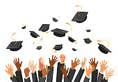 University graduation ceremony flat vector illustration