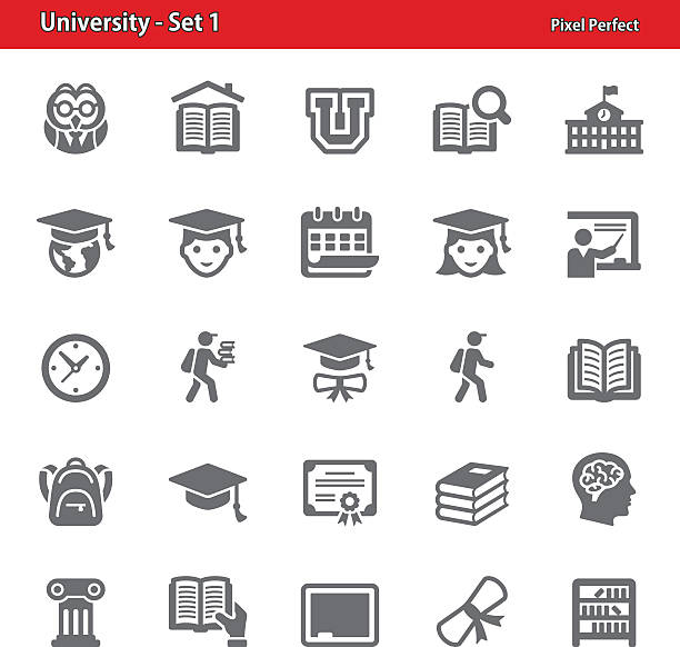 university icons - set 1 - primary school stock illustrations, clip art, cartoons, & icons