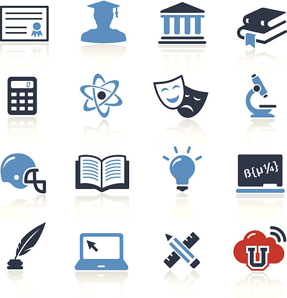 university icons two color | pro series - high school sports stock illustrations