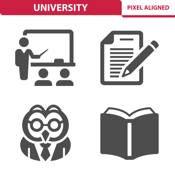 University Icons Professional, pixel perfect icons, EPS 10 format. showing stock illustrations