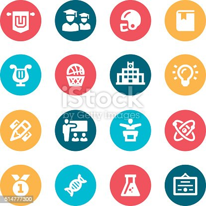 University Icons Stock Vector Art & More Images of American Football - Sport 514777300