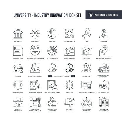 University Industry Innovation Editable Stroke Line Icons
