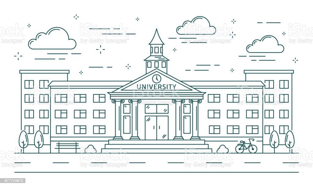 大学ラインの建物のイラスト。 ベクターアートイラスト