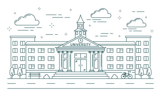 University line building illustration. University line building illustration on white background. campus stock illustrations