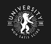 University non satis scire white on black is a vector illustration about studying and learning