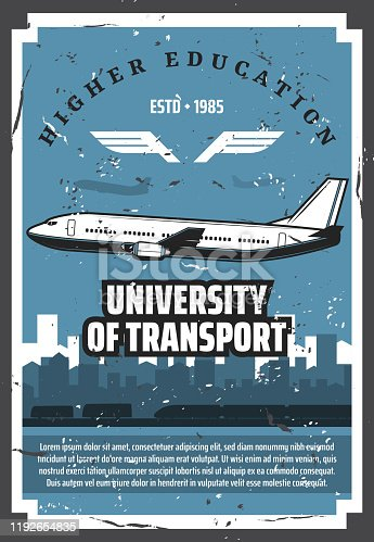Civil aviation school, university of air aviation vintage retro posters. Vector passenger airplane pilot and flight attendant training center, airline service staff higher education courses