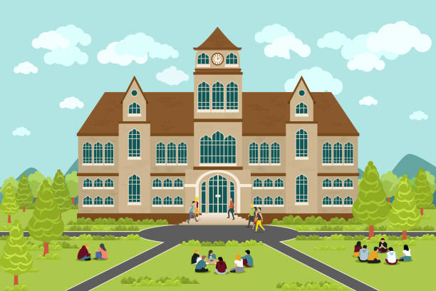 University or college building University or college building. Education student, flat campus design, graduation university, vector illustration campus stock illustrations