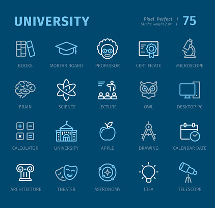 University - Outline icons with captions