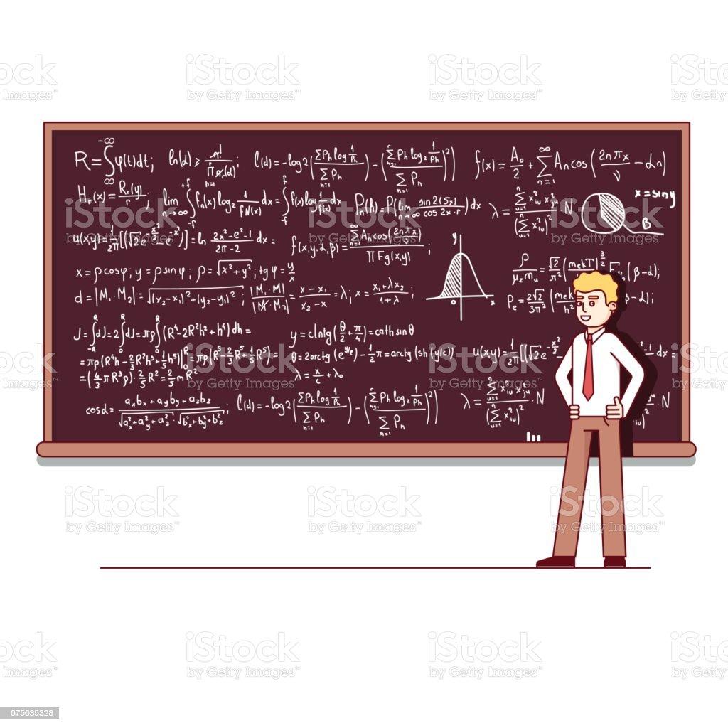 University professor giving lecture on mathematics - ilustração de arte em vetor