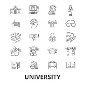 University, science, students, education, graduation, campus, study, knowledge line icons. Editable strokes. Flat design vector illustration symbol concept. Linear signs isolated on background