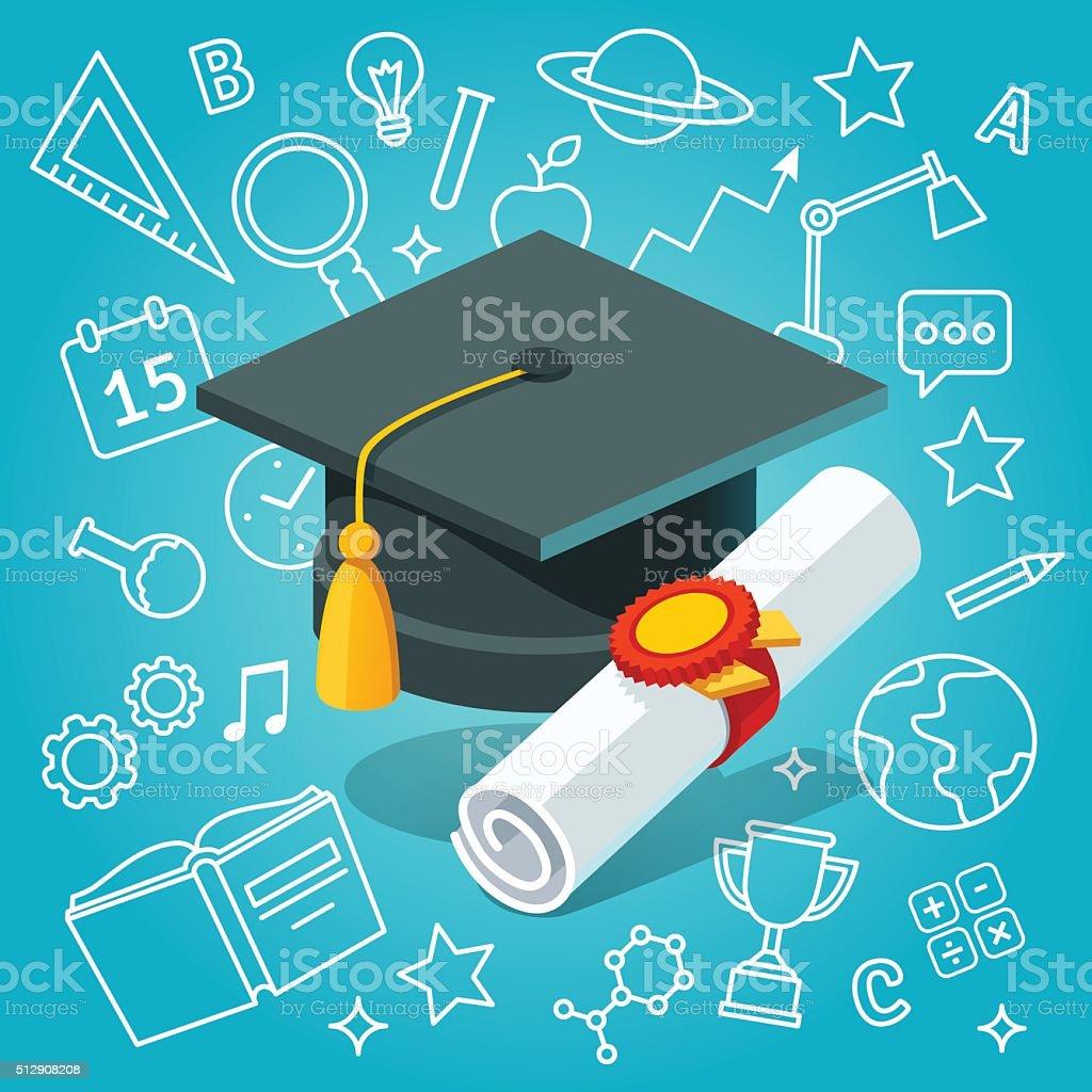 University student cap mortar board and diploma vector art illustration