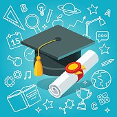 University student cap mortar board and diploma