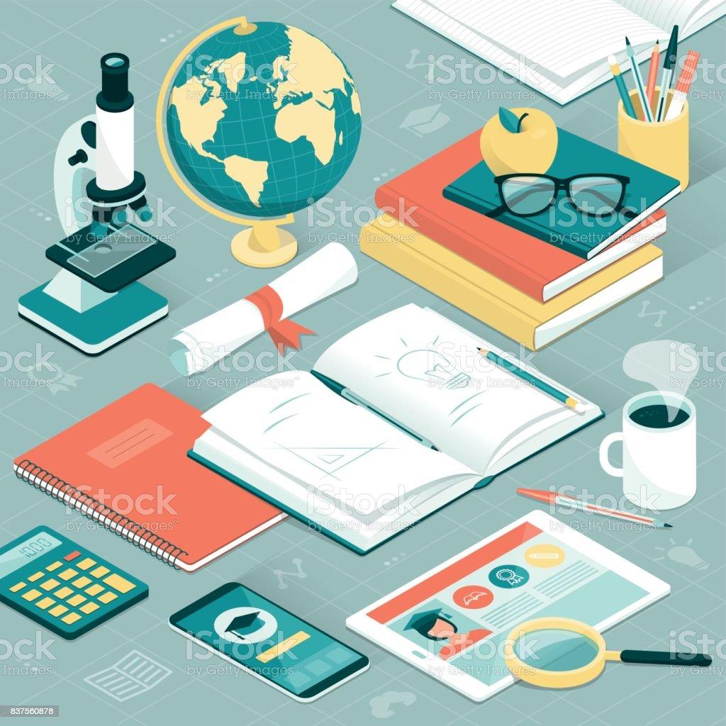 University student desktop vector art illustration
