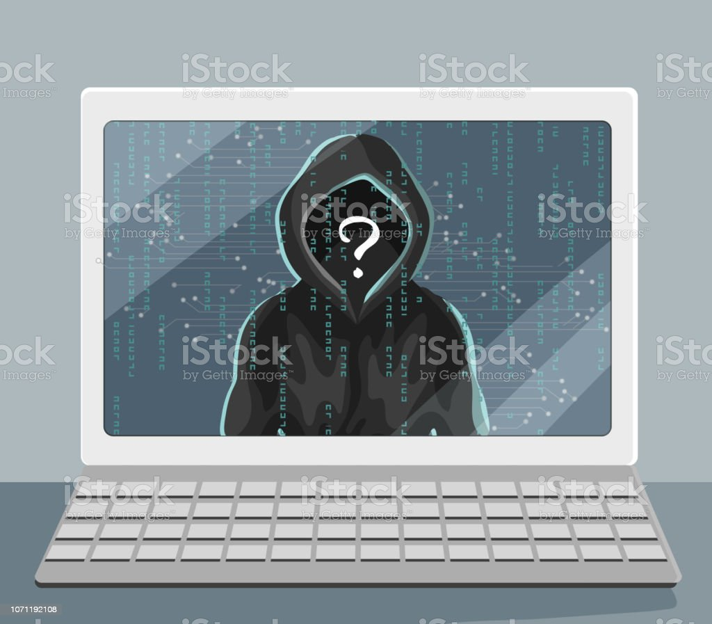 Unknown Human In Hood On Laptop Screen Hacking And Security Problem