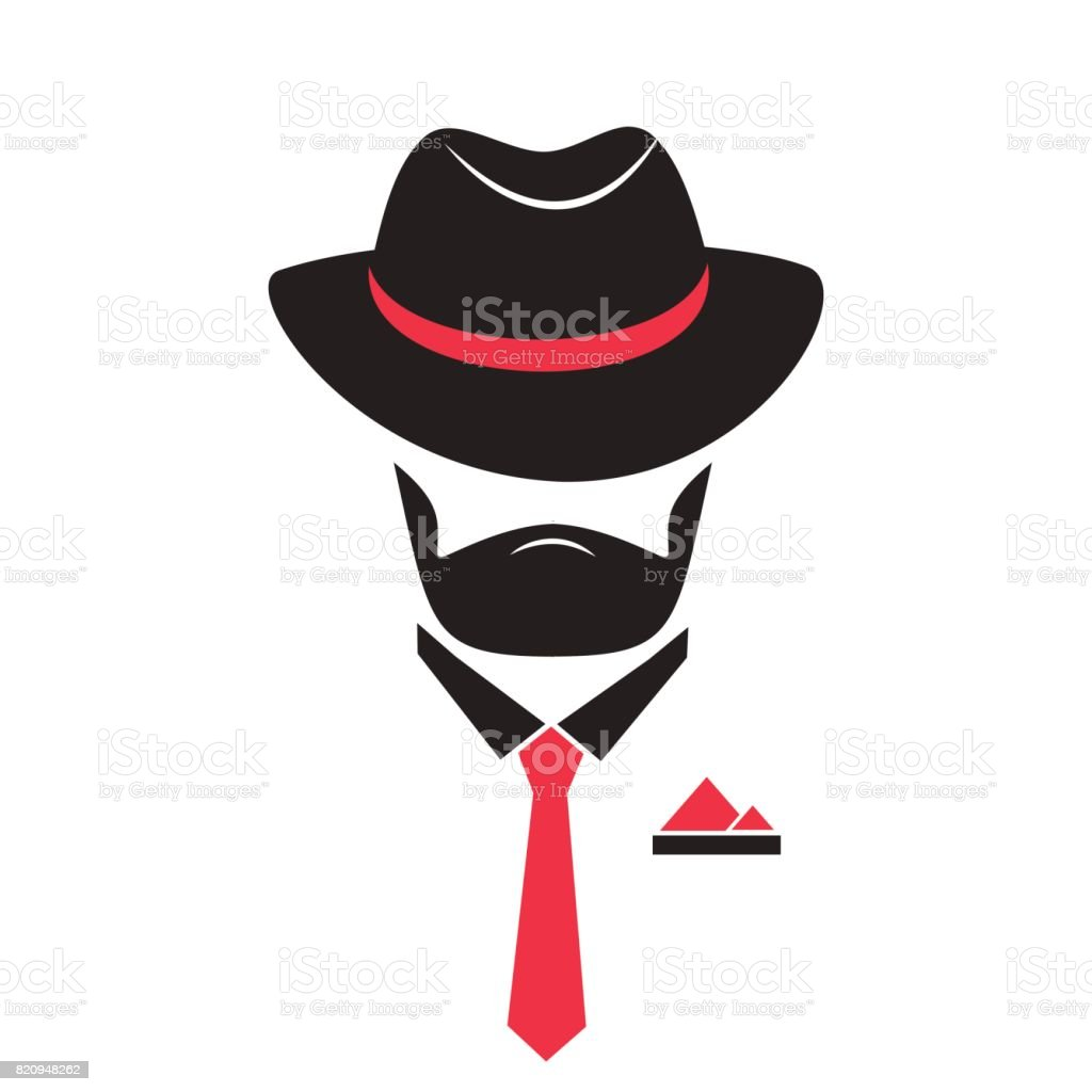 Unknown man in a hat and tie with a pocket square. vector art illustration