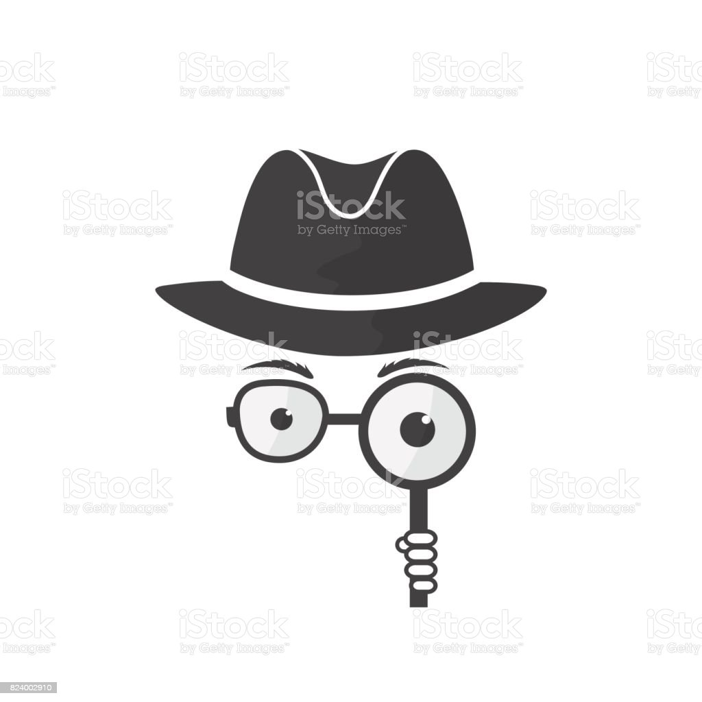 Unknown man in hat, spectacles and a magnifying glass in hand. vector art illustration