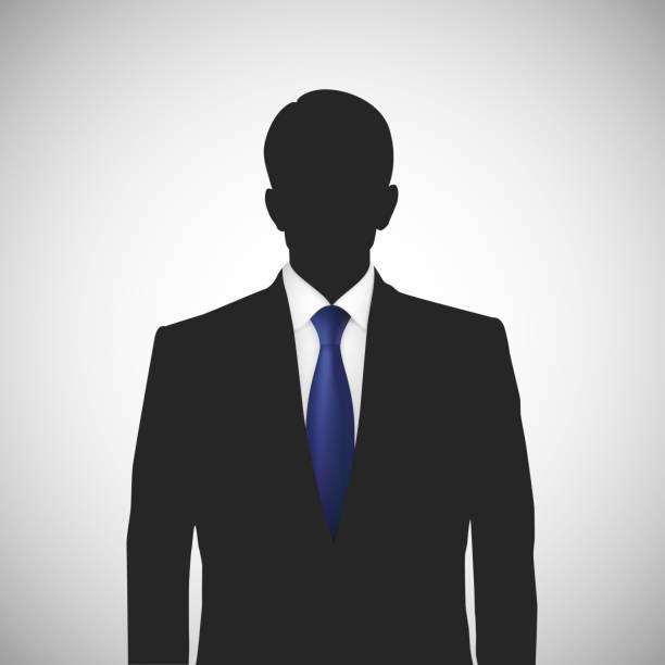 bildbanksillustrationer, clip art samt tecknat material och ikoner med unknown person silhouette whith blue tie - profile photo