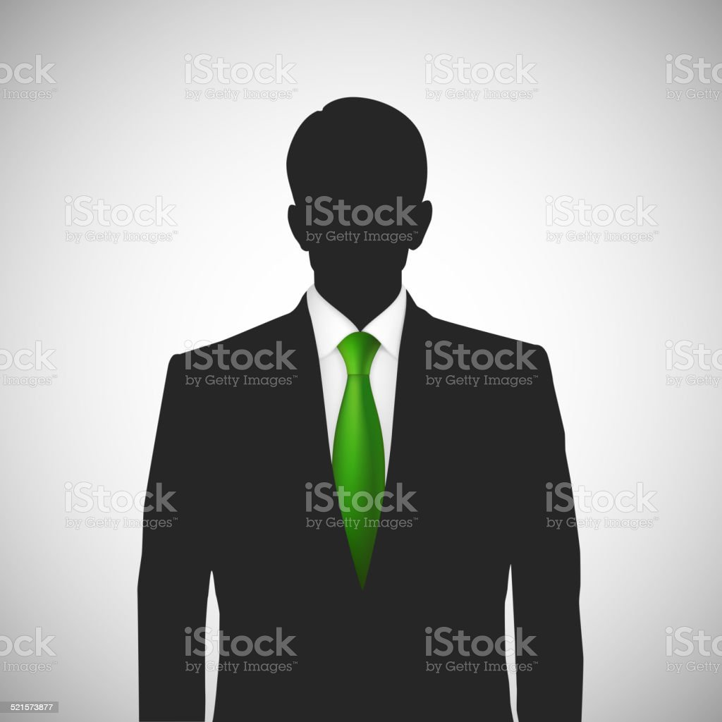 Unknown person silhouette whith green tie vector art illustration