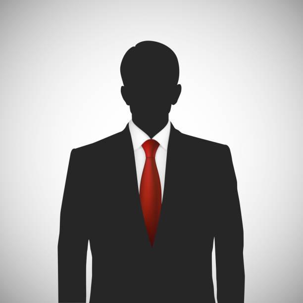 bildbanksillustrationer, clip art samt tecknat material och ikoner med unknown person silhouette whith red tie - profile photo