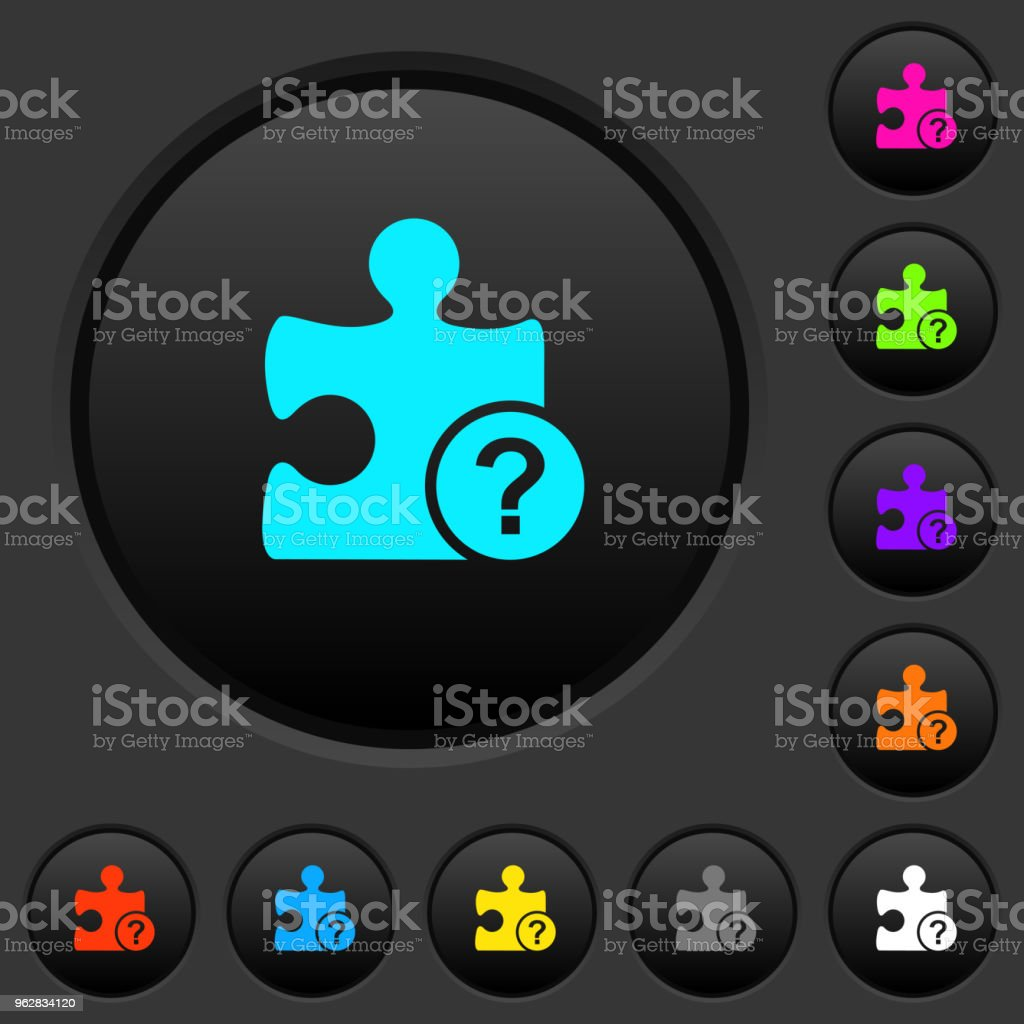 Unknown plugin dark push buttons with color icons - arte vettoriale royalty-free di Attrezzatura