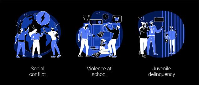 Unlawful behavior abstract concept vector illustrations.