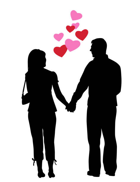 Unlikely Couple Valentines Middle aged couple holding hands and looking at each other girlfriend stock illustrations
