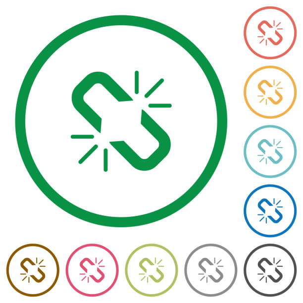 Unlink flat icons with outlines Unlink flat color icons in round outlines on white background detach stock illustrations
