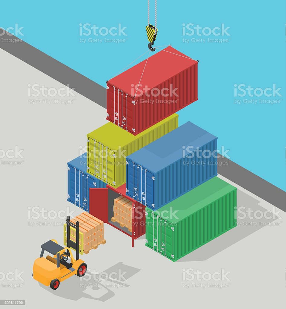 Unloading of sea cargo containers by a forklift. vector art illustration