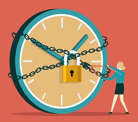 Unlock a clock - Businesswoman