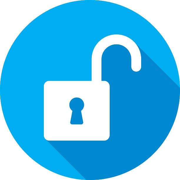 Unlock Icon Silhouette Vector illustration of a blue unlock icon in flat style. unlocking stock illustrations