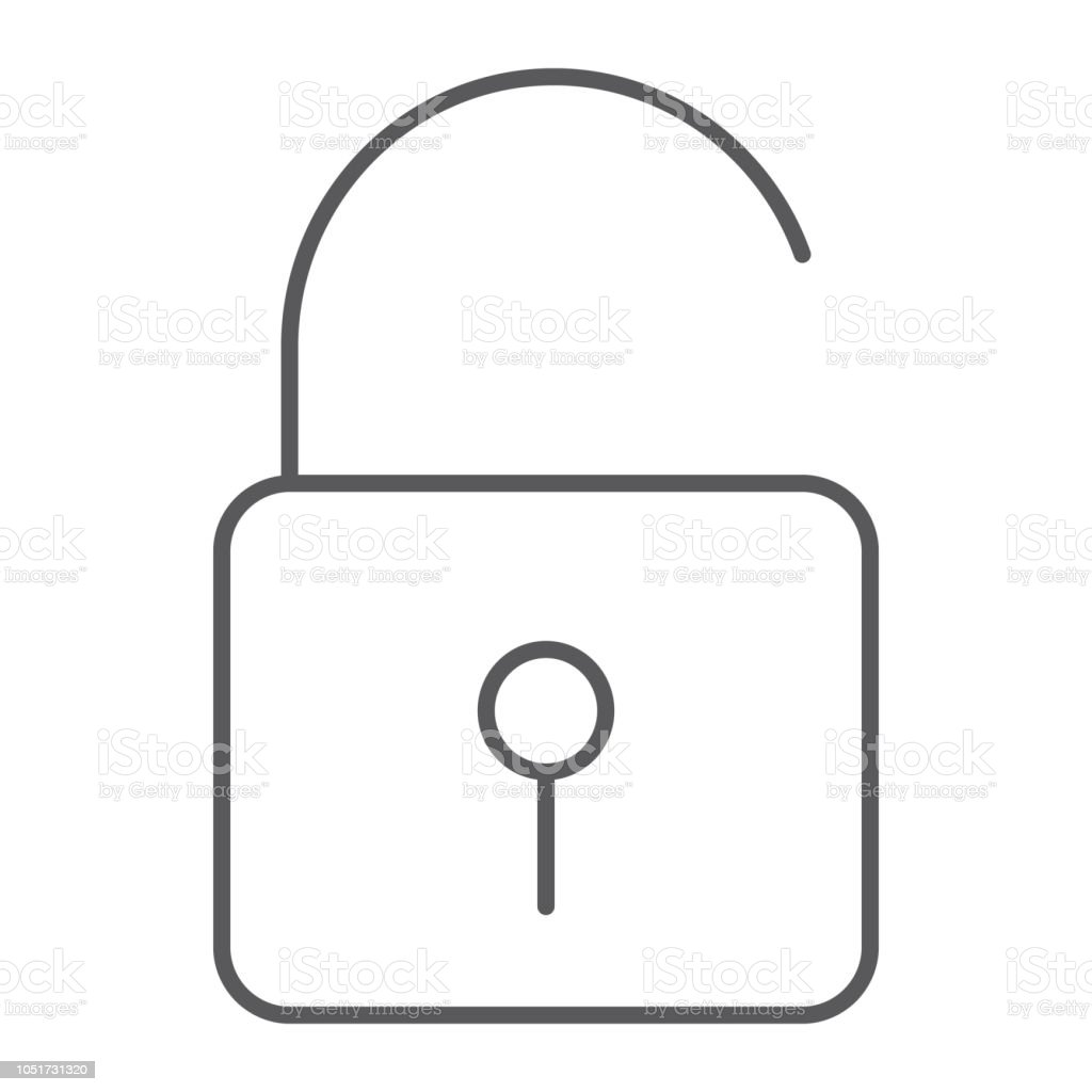 Unlock Thin Line Icon Security And Padlock Lock Sign Vector Graphics