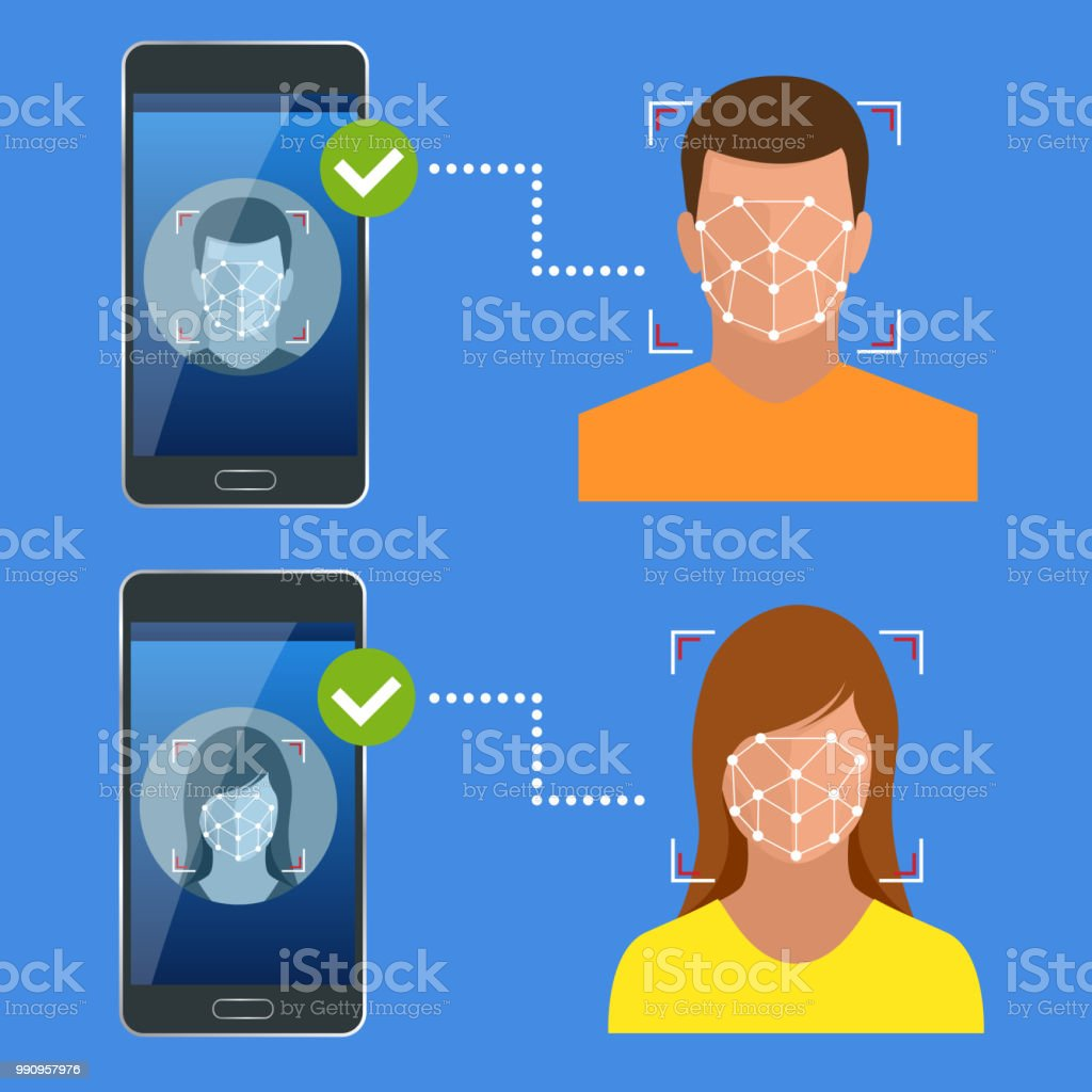 Unlocking smartphone with biometric facial identification, Biometric identification, Facial Recognition System Concept. Vector illustration for business, infographic, banner vector art illustration
